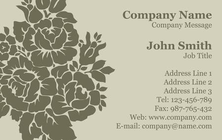 Vector Victorian rose Damask Business Card Vector