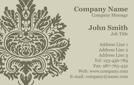 Vector Victorian Damask Business Card Stock Vector - 16829811