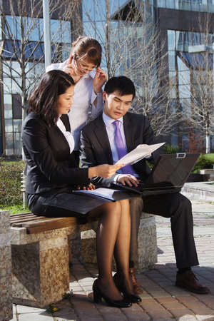 Business people meeting outdoor in front of office building Stock Photo - 16799824
