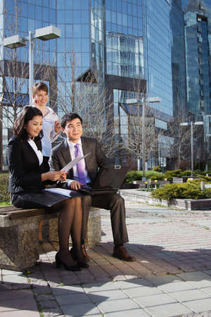 Business people meeting outdoor in front of office building Stock Photo - 16799802