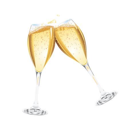 brindisi champagne: Vector Due bicchieri di champagne Vettoriali
