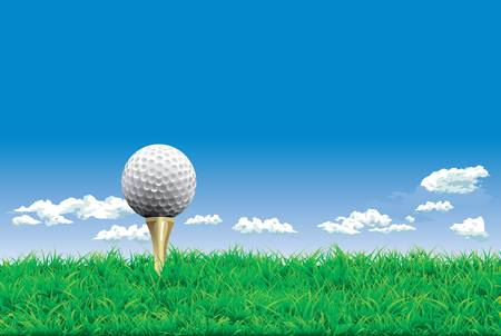 Golf ball on a tee, simple golf background Vector