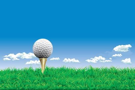 golf tee: Golf ball on a tee, simple golf background Illustration