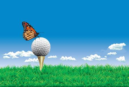 Golf ball on a tee, simple golf background Çizim