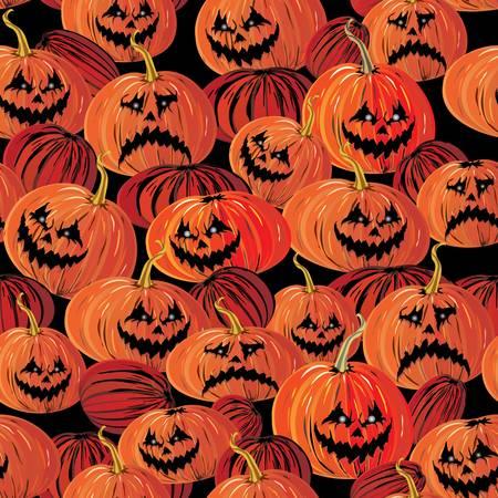 frightful: Halloween seamless background with bats, ghost   pumpkin, vector illustration