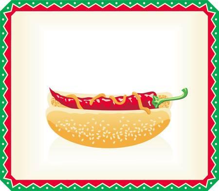 Hot dog with vegetables inside frame Stock Vector - 16829829