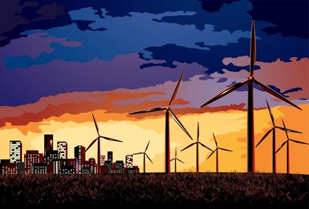 grass blade: Vector  Electrical windmill over evening cityscape scene