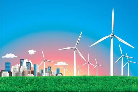 Vector  Electrical windmill over cityscape scene Stock Vector - 16829923