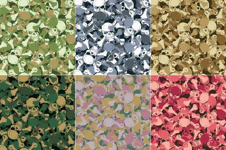 Vector  Seamless skull camouflage pattern