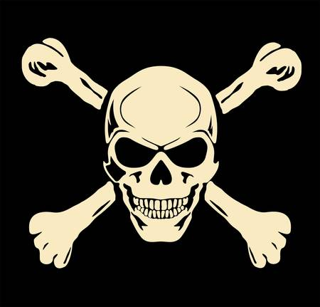 pirate skull: Vector malvado cr�neo con huesos Se�al de peligro Vectores