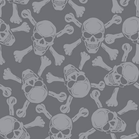 Vector  Evil skull with bones  Warning sign  Seamless  Vector