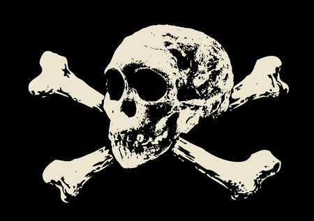 Vector  Evil skull with bones  Warning sign