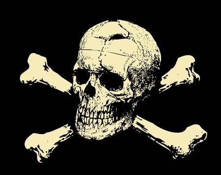 rothadó: Vector Evil koponya csontok Figyelmeztető tábla