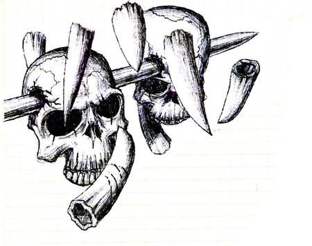 head rest: Vector  Evil skull with bones  Warning sign