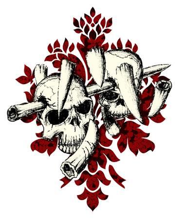 devil's bones: Vector  Evil skull with bones  Warning sign