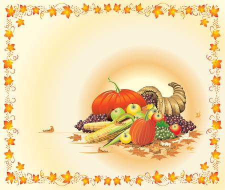 stationery border: Illustration composition for Thanksgiving Halloween invitation border or background with copy space