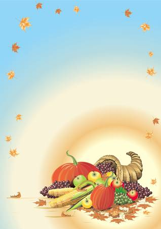 Illustration composition for Thanksgiving Halloween invitation border or background with copy space