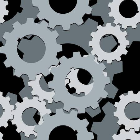 Seamless both side Cogwheels pattern, vector layered  Vector
