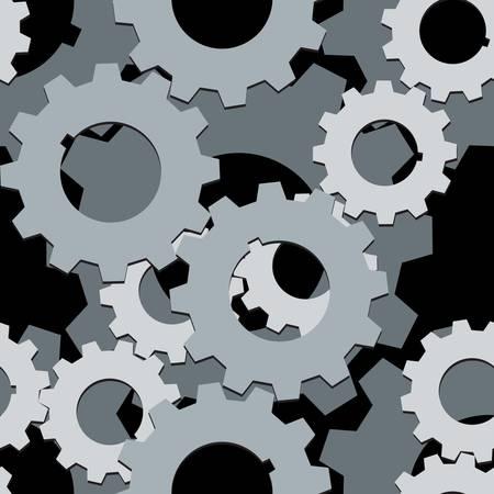 both: Seamless both side Cogwheels pattern, vector layered  Illustration