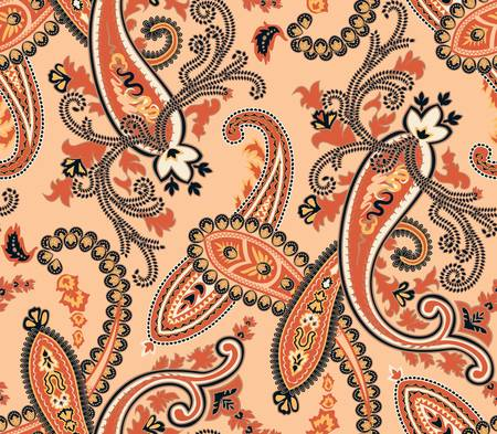 jacquard: Vector illustration  Seamless paisley background  Beige colors Illustration
