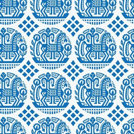 sem costura: Teste padr�o �tnico ucraniano - seamless textura Ilustra��o