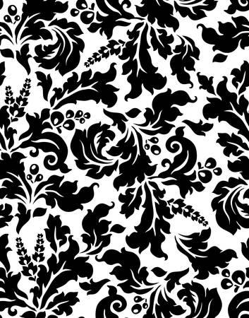 black berry: Vector  Seamless damask pattern