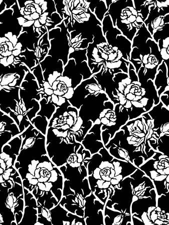 rosas negras: Rosas Seamless patrón negro Vectores