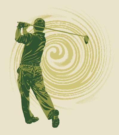stroking: Vector  Tee shot Illustration