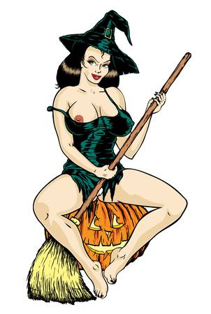 naked woman sitting: Super sexy witch  Illustration