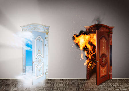 Two doors to heaven and hell  Choice concept