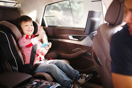 drive safely: Luxury baby car seat for safety with happy kid