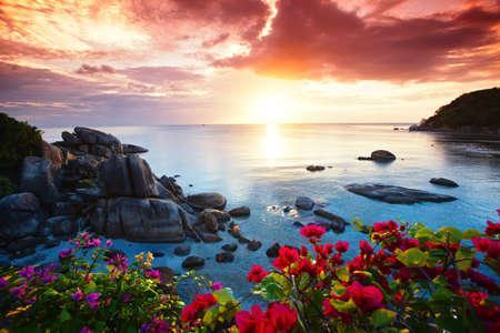 Ruhige Strandanlage, schöne Morgenruhm auf dem Koh Samui, Thailand Standard-Bild - 24688724
