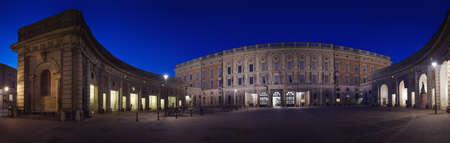 king carl xvi gustaf: Outer courtyard at Stockholms Royal Palace night panorama