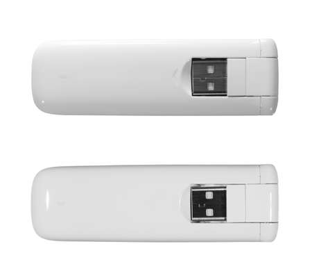 White 3g, 4g, LTE usb wireless mobile modem isolated on white, two light setup photo