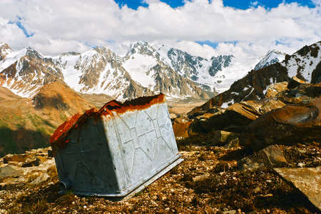 tien shan: Beautiful Tien shan peaks and mountains near Almaty. Pollution