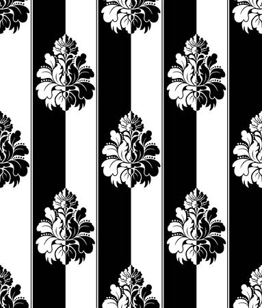 flores: Seamless monochrome damask vintage pattern. Striped Illustration