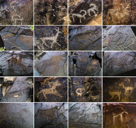 cultural artifacts: Petroglyphs on the stone in Tambaly or Tamgaly Tas, Kazakhstan
