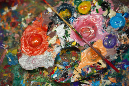 art materials: Beautiful still life with professional art materials, palette, close up Stock Photo