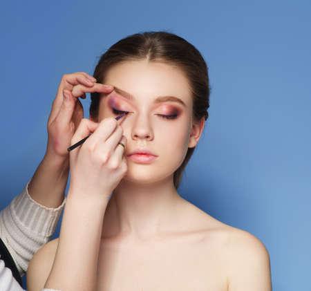applying makeup: Makeup. Cosmetic. Skin tone palette. Applying Make-up