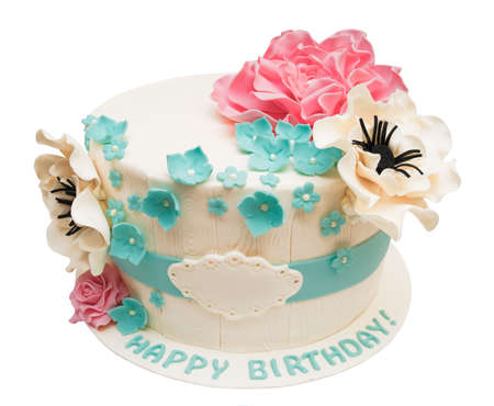 Birthday cake with flowers isolated on white with space for text or name Stock Photo