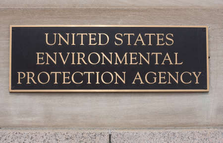 red america: United States Environmental Protection Agency sign on the Clinton building