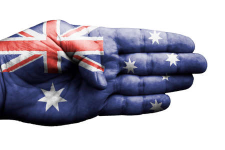A hand embellished with the flag of Australia on white