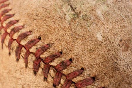 Macro image of an old baseball