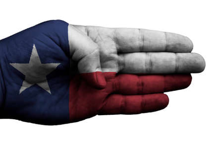 A hand embellished with the flag of Texas on white Stok Fotoğraf