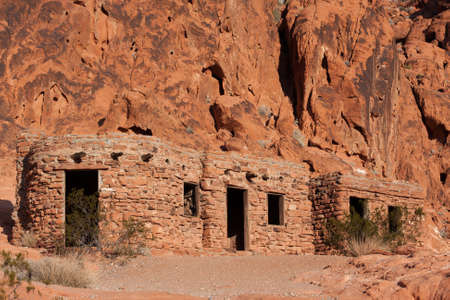 De hutten in de Valley of Fire State Park, Nevada Stockfoto