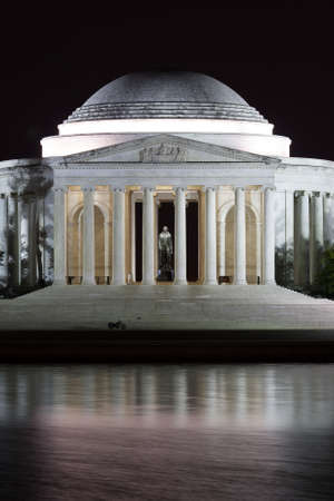 the memorial: The Jefferson Memorial at Night in Washington D.C.