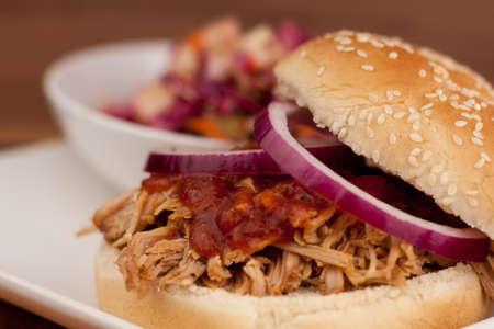 Pulled Pork BBQ Sandwich with vinegar-based Apple Cole Slaw