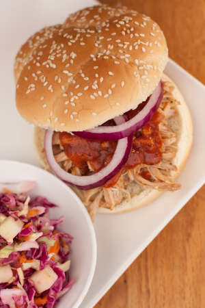 pulled: Pulled Pork BBQ Sandwich with vinegar-based Apple Cole Slaw