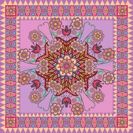 Estampado de bandana colorido con adorno floral en tonos violetas.