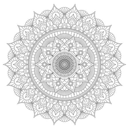 Coloring book with floral black and white mandala.